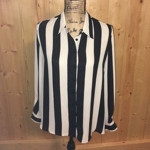 Forever 21 Black & White Striped Shirt